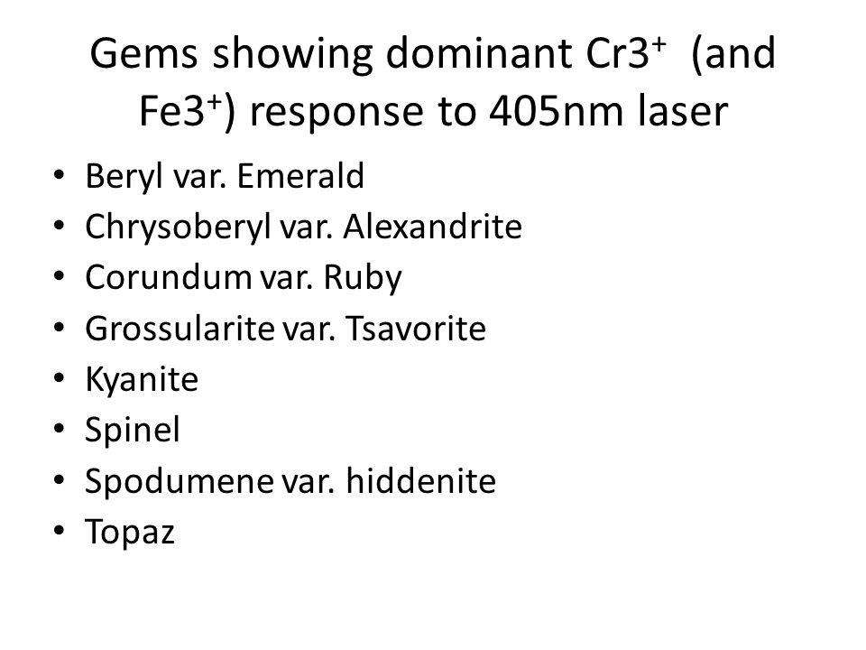 Gems showing dominant Cr3 + (and Fe3 + ) response to 405nm laser Beryl var. Emerald Chrysoberyl var. Alexandrite Corundum var. Ruby Grossularite var.