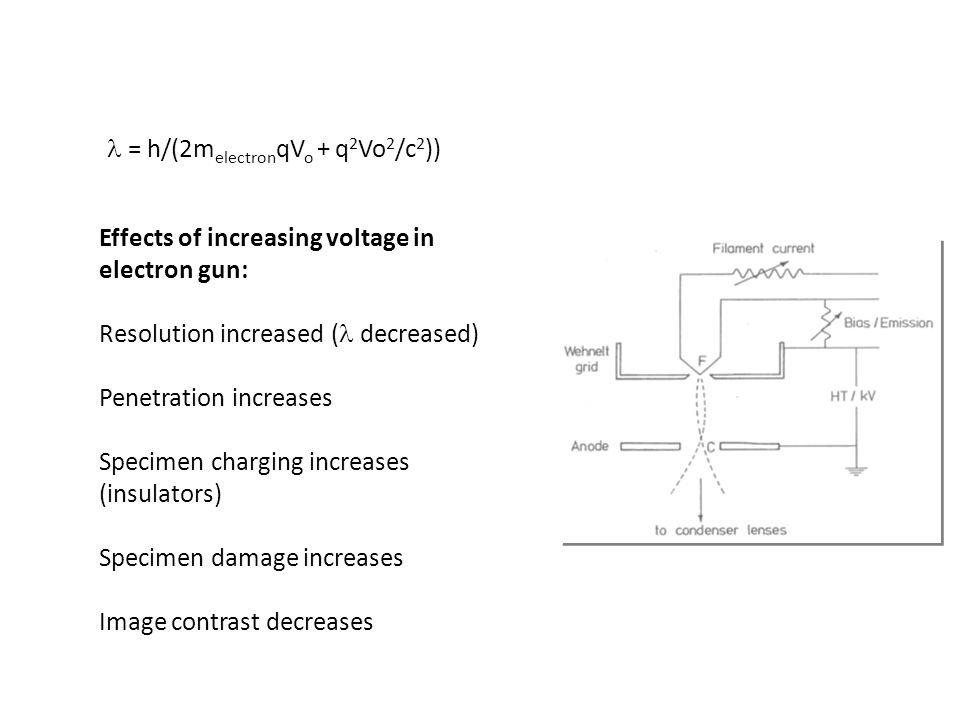Effects of increasing voltage in electron gun: Resolution increased ( decreased) Penetration increases Specimen charging increases (insulators) Specim