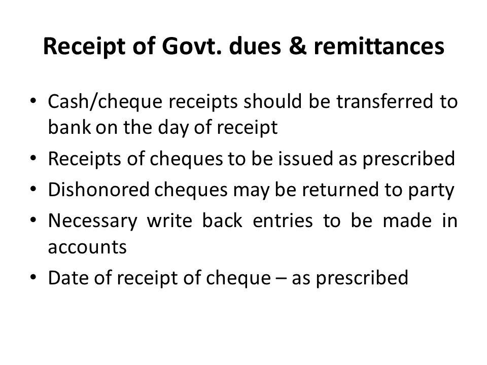 Receipt of Govt.