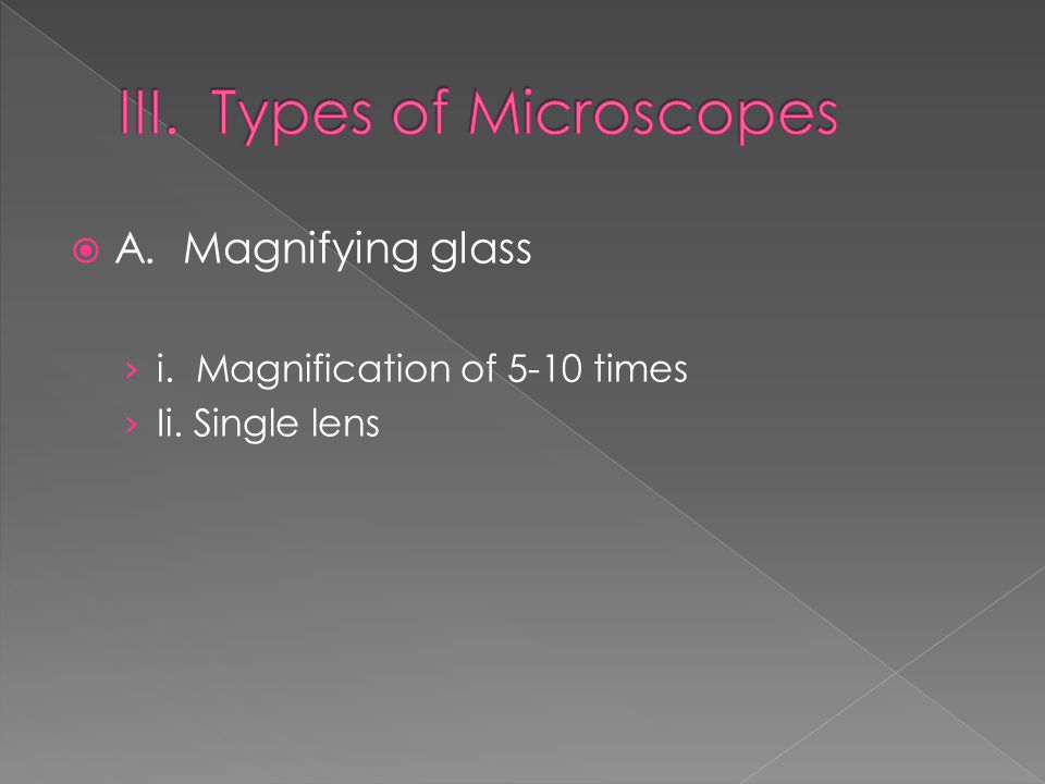  A. Magnifying glass › i. Magnification of 5-10 times › Ii. Single lens