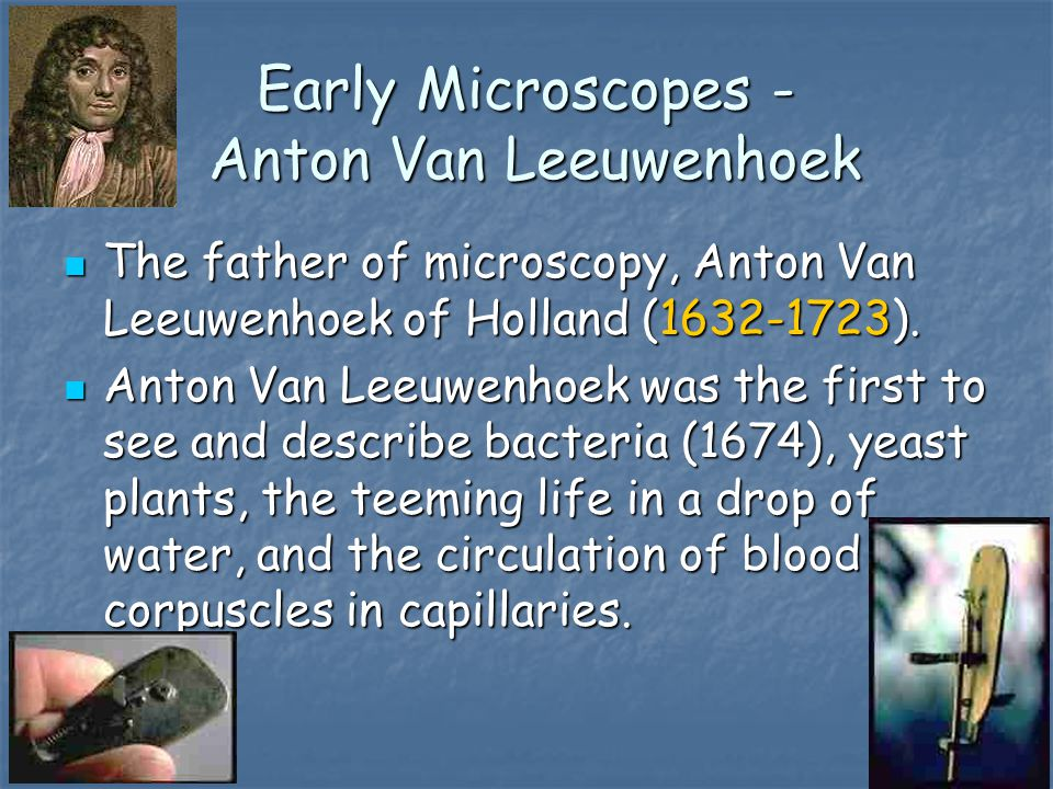 Early Microscopes - Anton Van Leeuwenhoek The father of microscopy, Anton Van Leeuwenhoek of Holland (1632-1723).