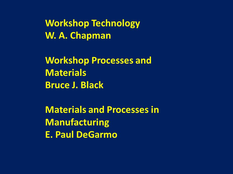 Workshop Technology W.A. Chapman Workshop Processes and Materials Bruce J.