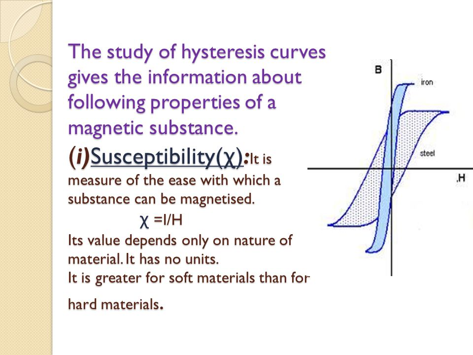 The study of hysteresis curves gives the information about following properties of a magnetic substance. ( i)Susceptibility( χ ): It is measure of the