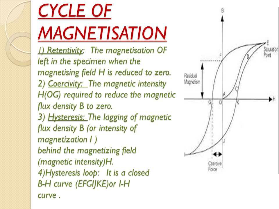 CYCLE OF MAGNETISATION 1 ) Retentivity: The magnetisation OF left in the specimen when the magnetising field H is reduced to zero. 2) Coercivity: The