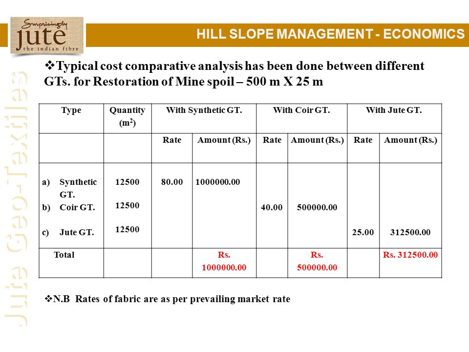 Jute Geo-Textiles HILL SLOPE MANAGEMENT - ECONOMICS  Typical cost comparative analysis has been done between different GTs.