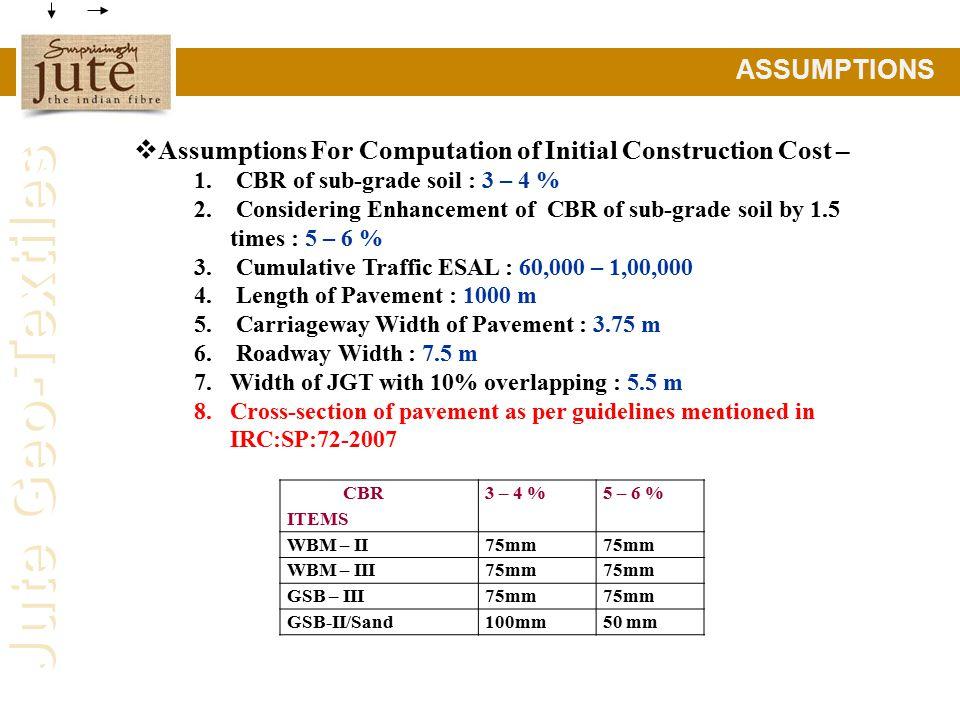 Jute Geo-Textiles ASSUMPTIONS  Assumptions For Computation of Initial Construction Cost – 1.
