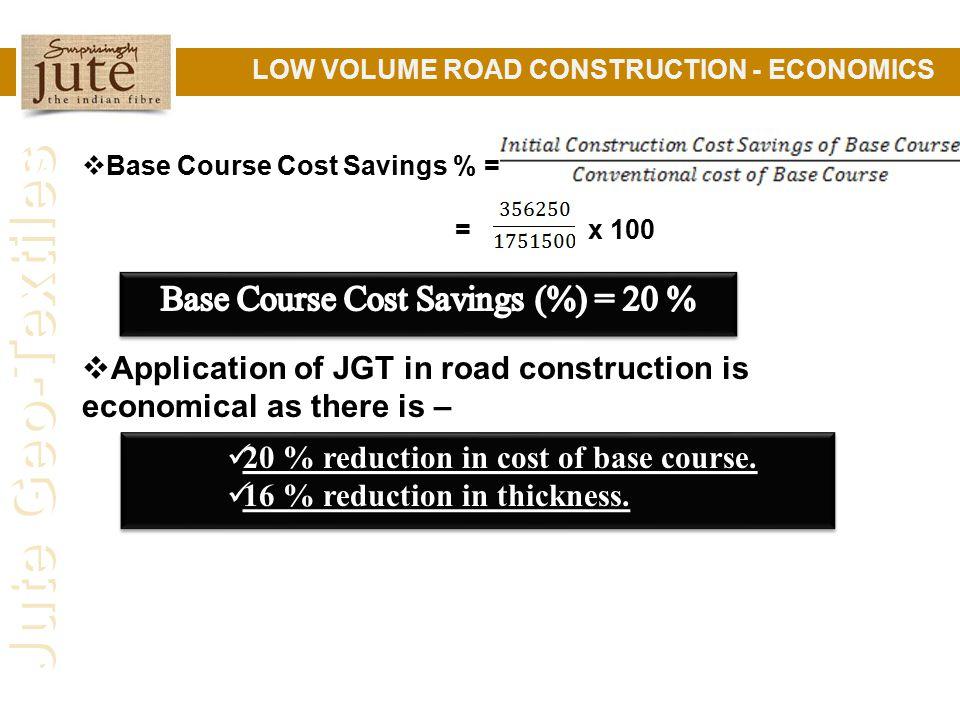 Jute Geo-Textiles LOW VOLUME ROAD CONSTRUCTION - ECONOMICS  Base Course Cost Savings % = = x 100  Application of JGT in road construction is economical as there is – 20 % reduction in cost of base course.