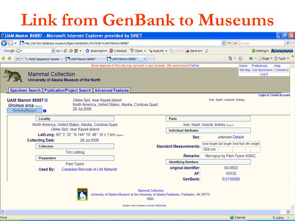 ISBER: 13 May 2009 Link from GenBank to Museums
