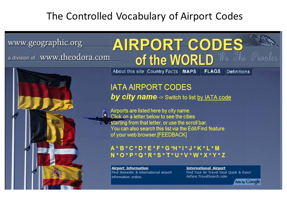 The Controlled Vocabulary of Airport Codes