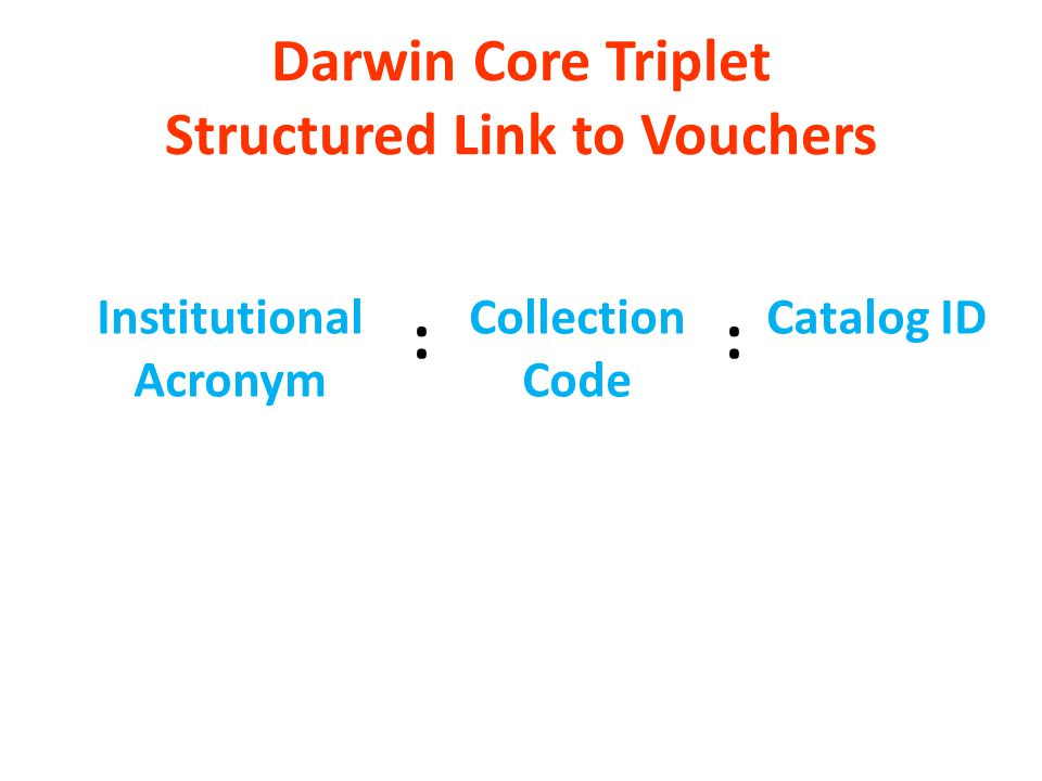 Darwin Core Triplet Structured Link to Vouchers Institutional Acronym Collection Code Catalog ID ::