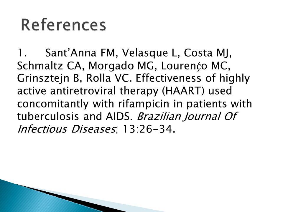 1.Sant'Anna FM, Velasque L, Costa MJ, Schmaltz CA, Morgado MG, Louren ḉ o MC, Grinsztejn B, Rolla VC. Effectiveness of highly active antiretroviral th