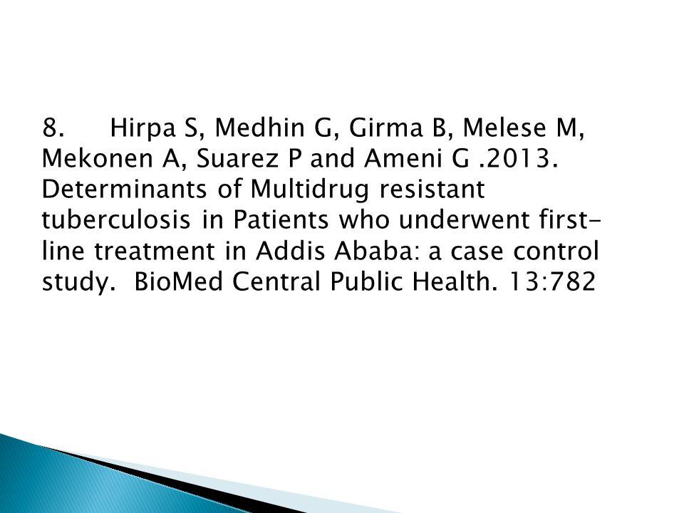 8.Hirpa S, Medhin G, Girma B, Melese M, Mekonen A, Suarez P and Ameni G.2013. Determinants of Multidrug resistant tuberculosis in Patients who underwe