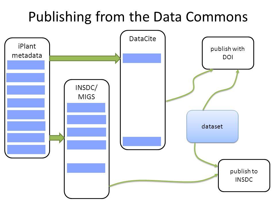 Publishing from the Data Commons iPlant metadata INSDC/ MIGS DataCite dataset publish to INSDC publish with DOI