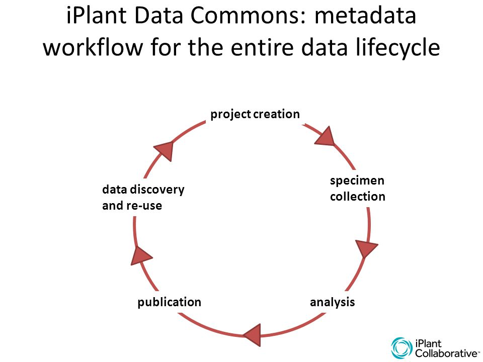 iPlant Data Commons: metadata workflow for the entire data lifecycle specimen collection analysis project creation publication data discovery and re-u