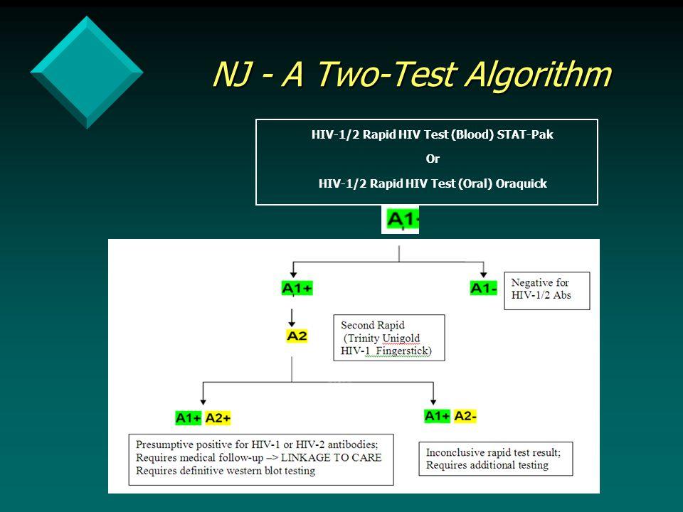 NJ - A Two-Test Algorithm HIV-1/2 Rapid HIV Test (Blood) STAT-Pak Or HIV-1/2 Rapid HIV Test (Oral) Oraquick