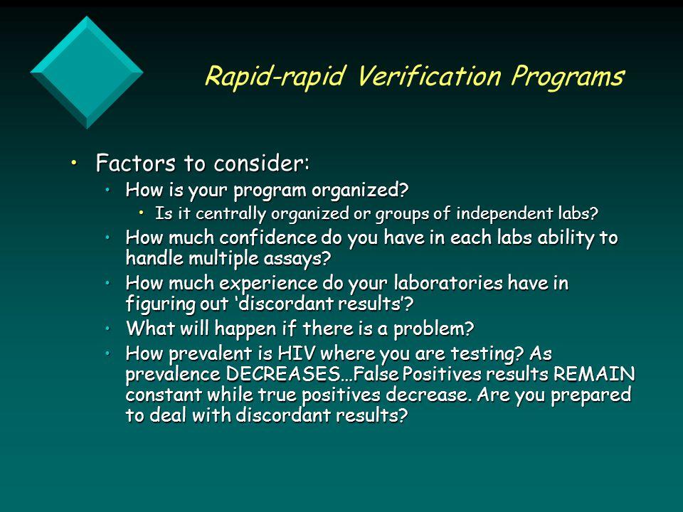 Rapid-rapid Verification Programs Factors to consider:Factors to consider: How is your program organized How is your program organized.
