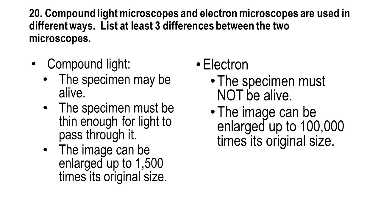 20. Compound light microscopes and electron microscopes are used in different ways. List at least 3 differences between the two microscopes. Compound