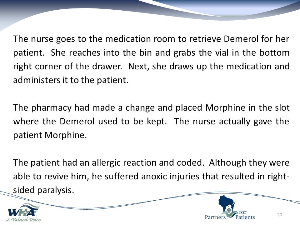 20 The nurse goes to the medication room to retrieve Demerol for her patient.