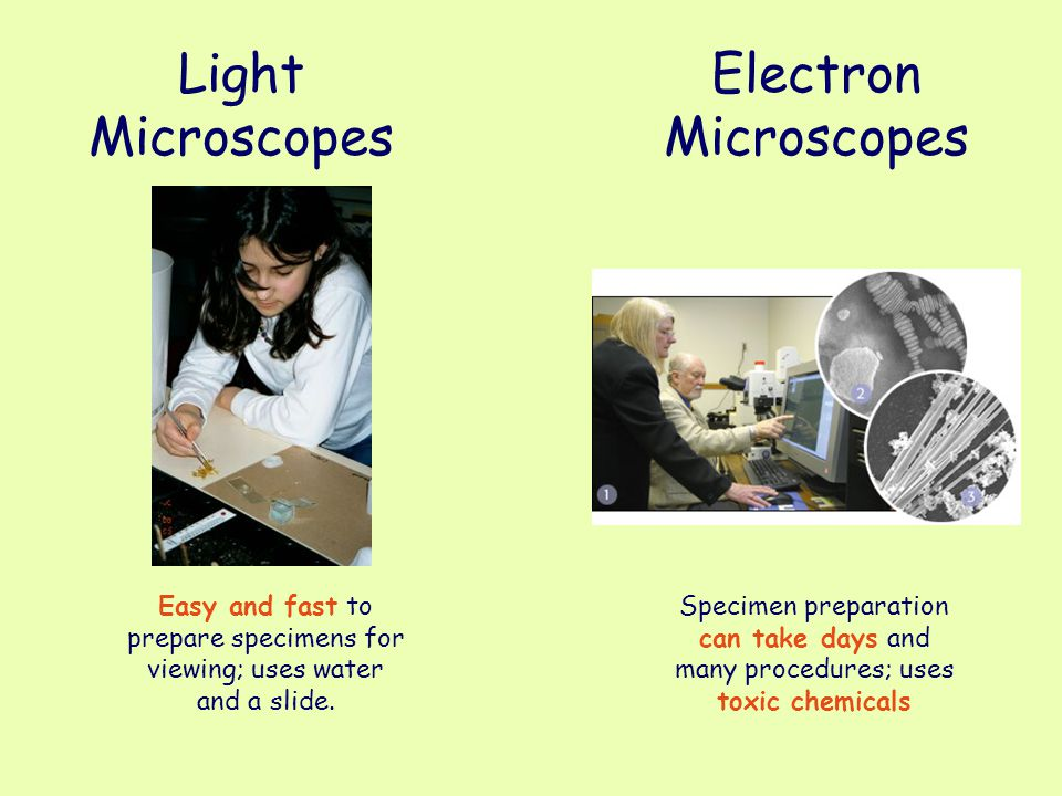 Light Microscopes Easy and fast to prepare specimens for viewing; uses water and a slide. Electron Microscopes Specimen preparation can take days and