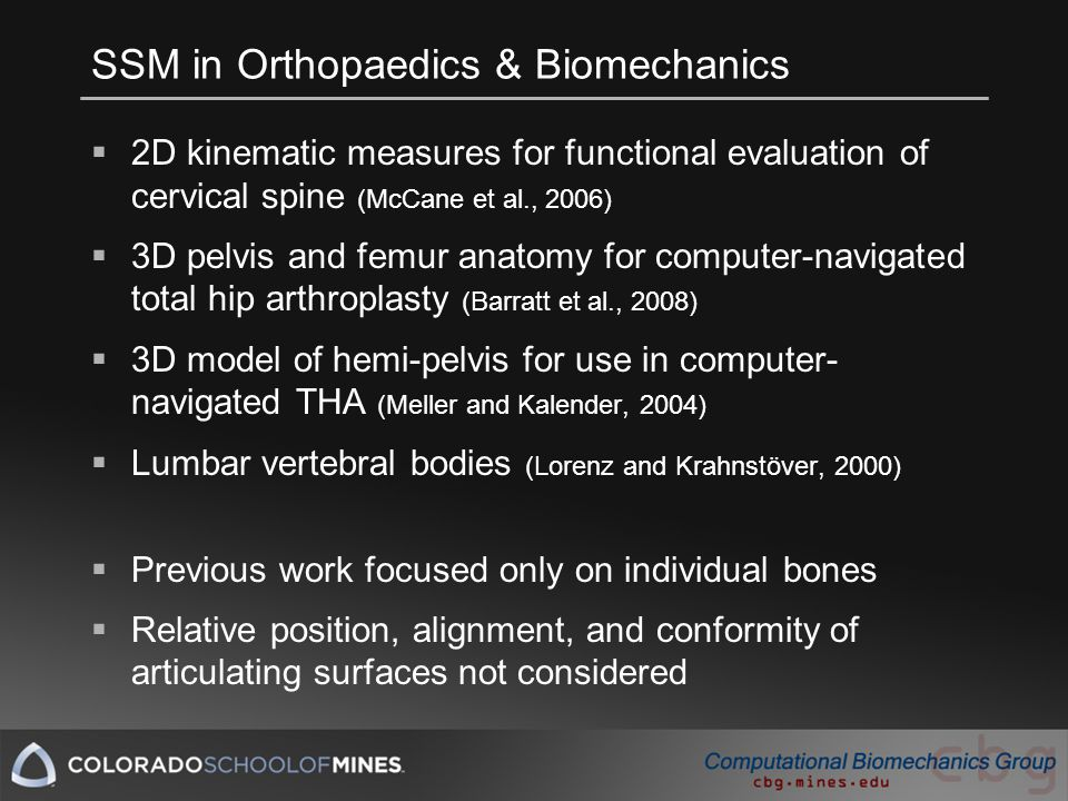 SSM in Orthopaedics & Biomechanics  2D kinematic measures for functional evaluation of cervical spine (McCane et al., 2006)  3D pelvis and femur anatomy for computer-navigated total hip arthroplasty (Barratt et al., 2008)  3D model of hemi-pelvis for use in computer- navigated THA (Meller and Kalender, 2004)  Lumbar vertebral bodies (Lorenz and Krahnstöver, 2000)  Previous work focused only on individual bones  Relative position, alignment, and conformity of articulating surfaces not considered