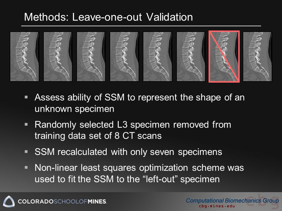 Methods: Leave-one-out Validation  Assess ability of SSM to represent the shape of an unknown specimen  Randomly selected L3 specimen removed from training data set of 8 CT scans  SSM recalculated with only seven specimens  Non-linear least squares optimization scheme was used to fit the SSM to the left-out specimen