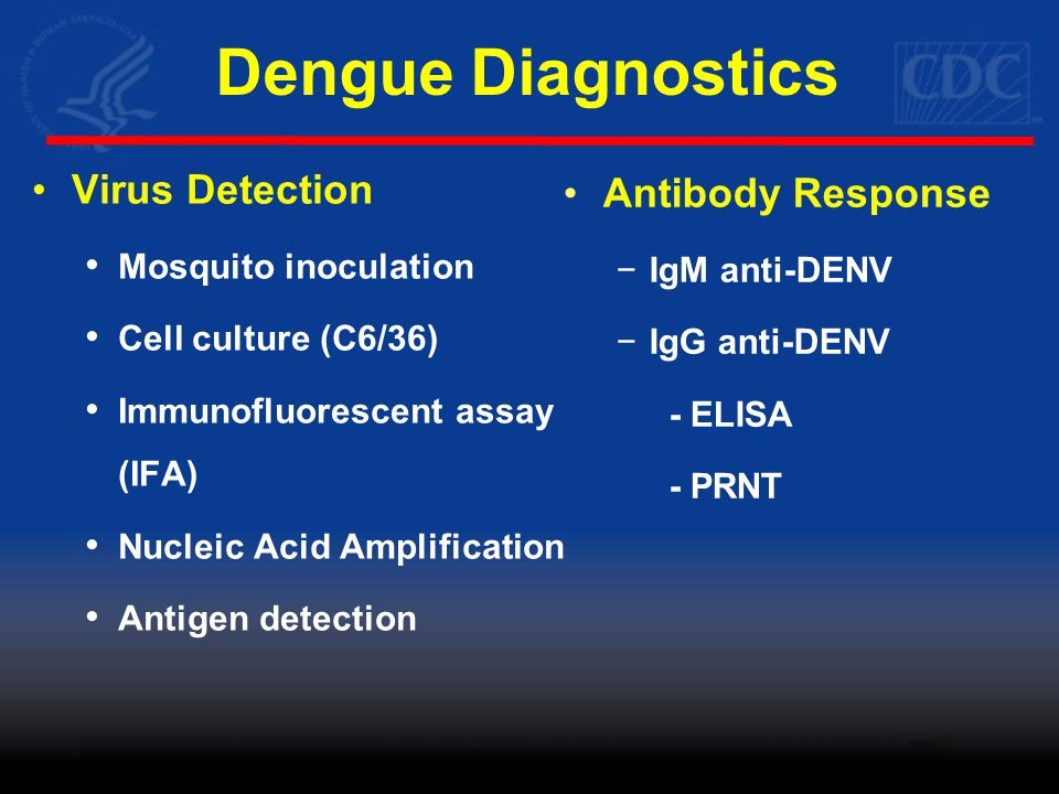 'Acute' Dengue – A Diagnostic Challenge NS1 IgM Virus NS1 Primary Infection Secondary Infection 0 1 2 3 4 5 6 7 8 9 10 Fever Day 0 1 2 3 4 5 6 7 8 9 10 Incubation IgM IgG Anti-DENV not helpful for diagnosis of acute disease