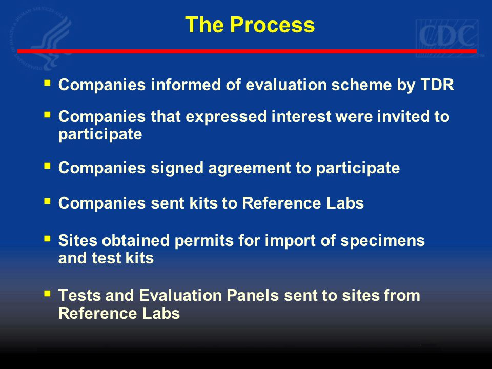 The Process  Companies informed of evaluation scheme by TDR  Companies that expressed interest were invited to participate  Companies signed agreement to participate  Companies sent kits to Reference Labs  Sites obtained permits for import of specimens and test kits  Tests and Evaluation Panels sent to sites from Reference Labs
