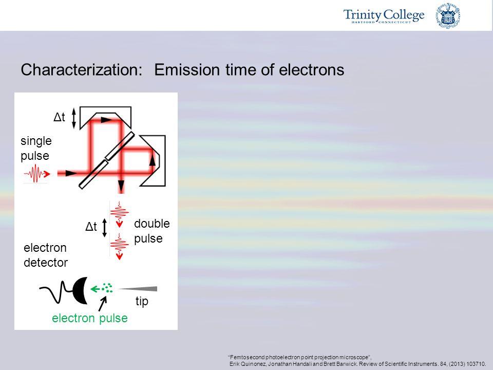 """ΔtΔt ΔtΔt single pulse double pulse tip electron detector electron pulse """"Femtosecond photoelectron point projection microscope"""", Erik Quinonez, Jonat"""
