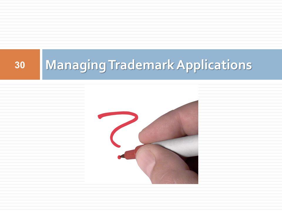 Managing Trademark Applications 30
