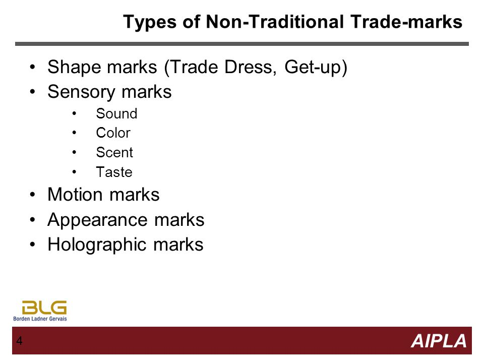 24 AIPLA Firm Logo 24 Non-traditional Trademarks in Canada Canadian Trade-marks office more accepting of certain types of non-traditional trademarks –Trade dress has been registered under distinguishing guise provisions –Several motion marks have been registered March 2012 – MGM Lion's roar registered as first modern sound mark.