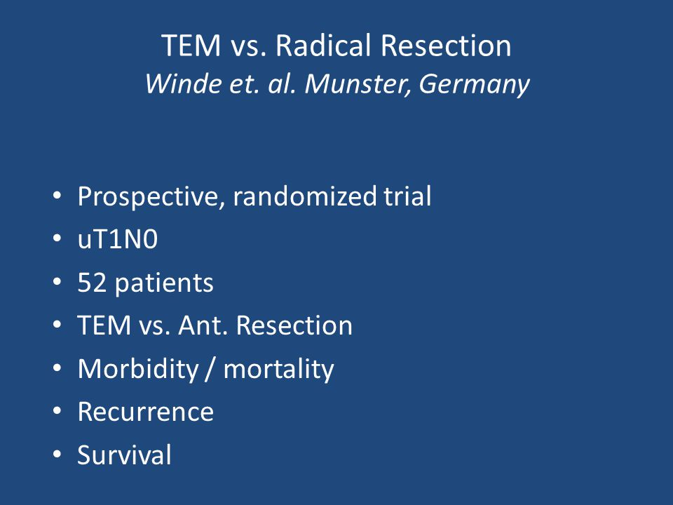 TEM vs. Radical Resection Winde et. al. Munster, Germany Prospective, randomized trial uT1N0 52 patients TEM vs. Ant. Resection Morbidity / mortality