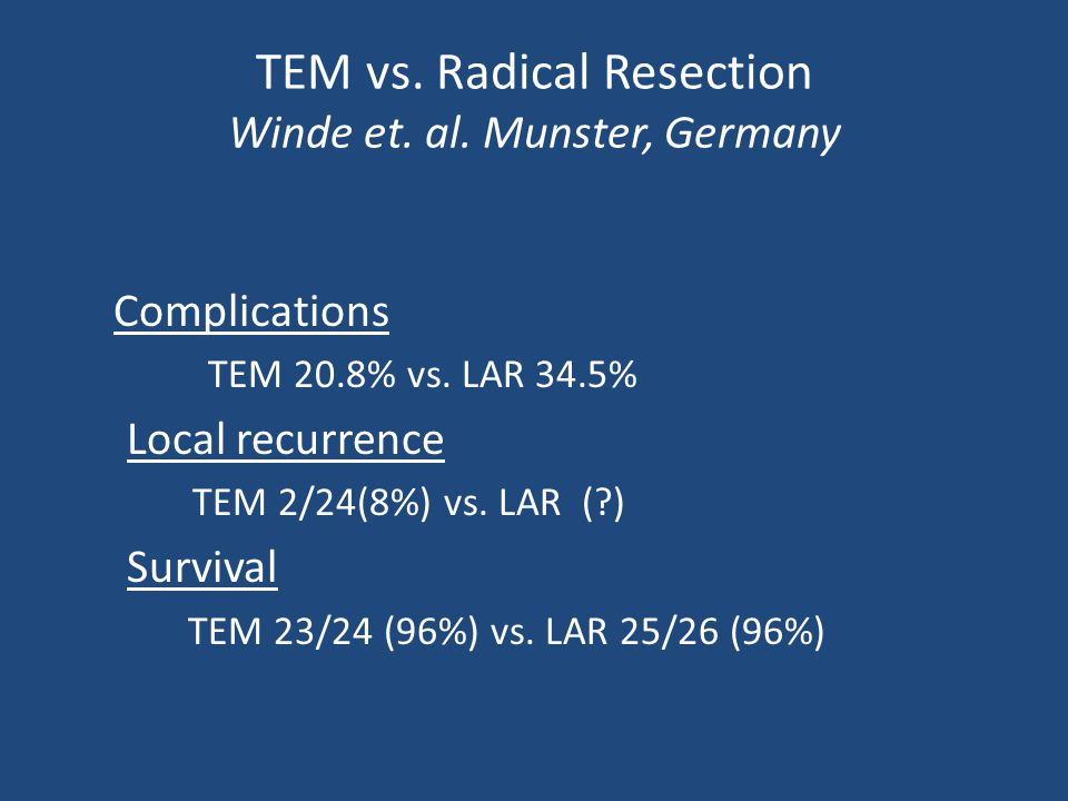 TEM vs. Radical Resection Winde et. al. Munster, Germany Complications TEM 20.8% vs. LAR 34.5% Local recurrence TEM 2/24(8%) vs. LAR (?) Survival TEM