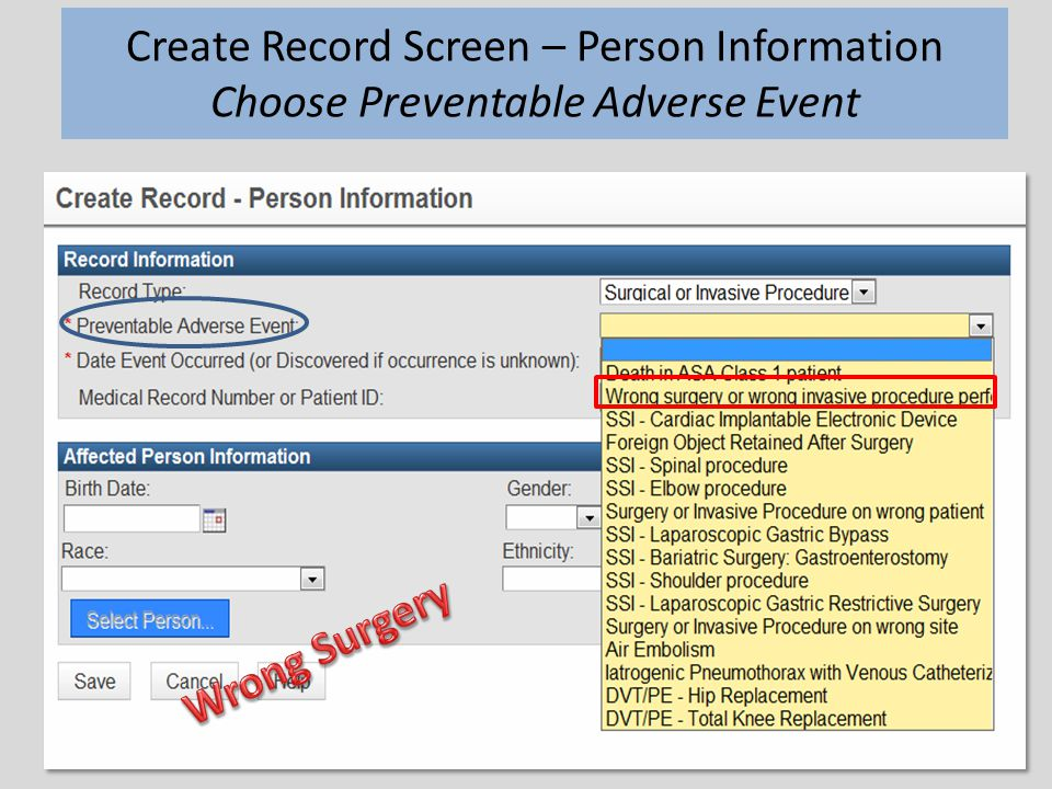 20 Create Record Screen – Person Information Choose Preventable Adverse Event