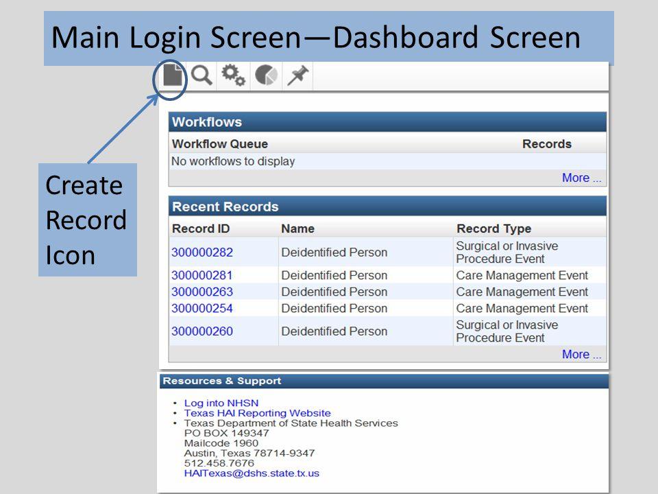 Main Login Screen—Dashboard Screen Create Record Icon