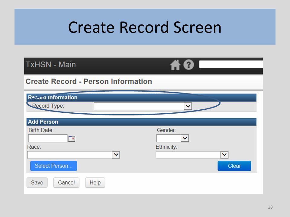 28 Create Record Screen