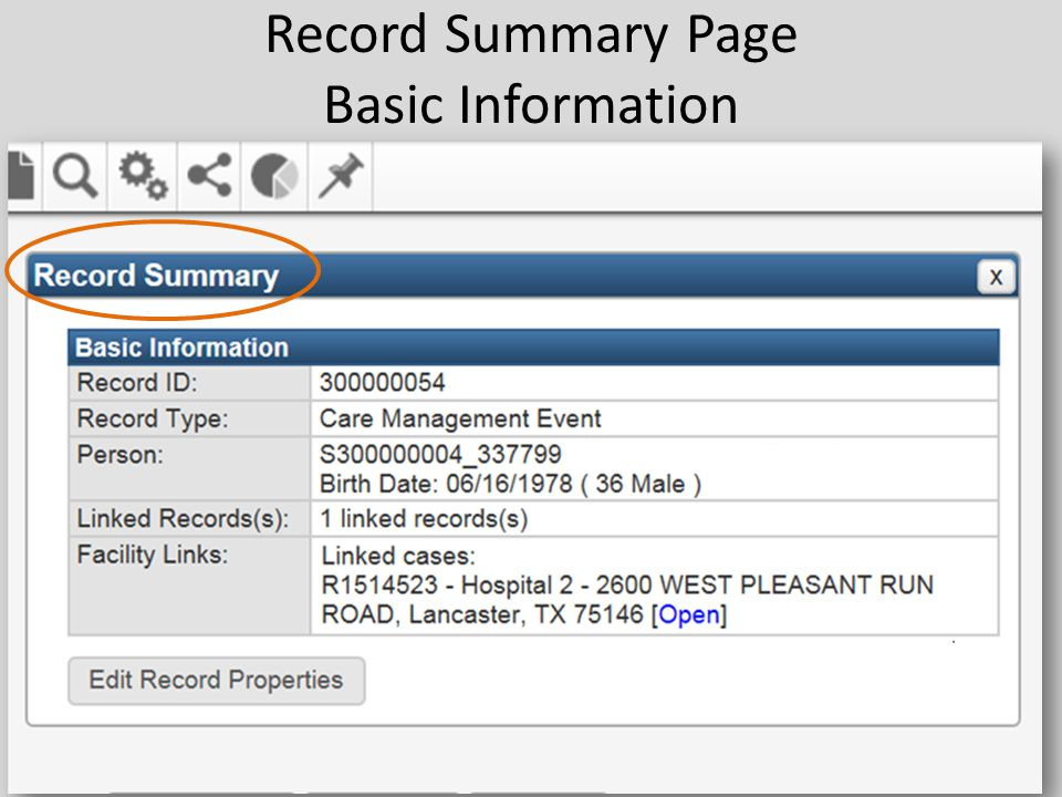Record Summary Page Basic Information 49