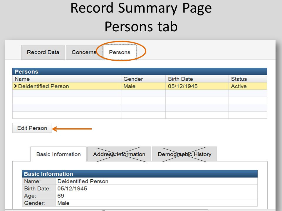 Record Summary Page Persons tab 52