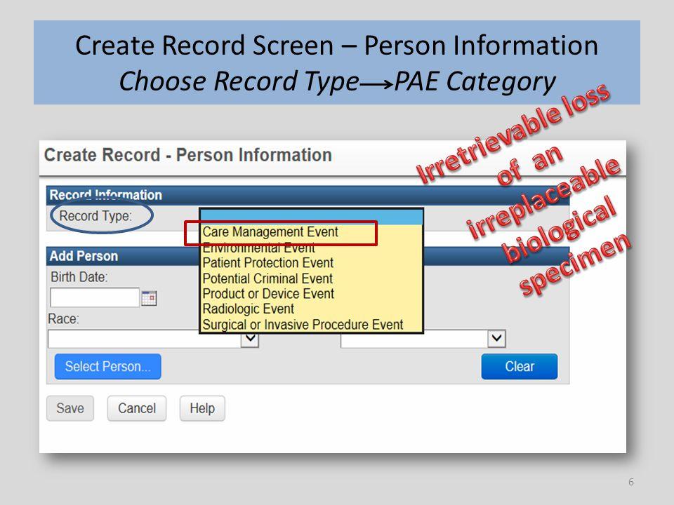 7 Create Record Screen – Person Information