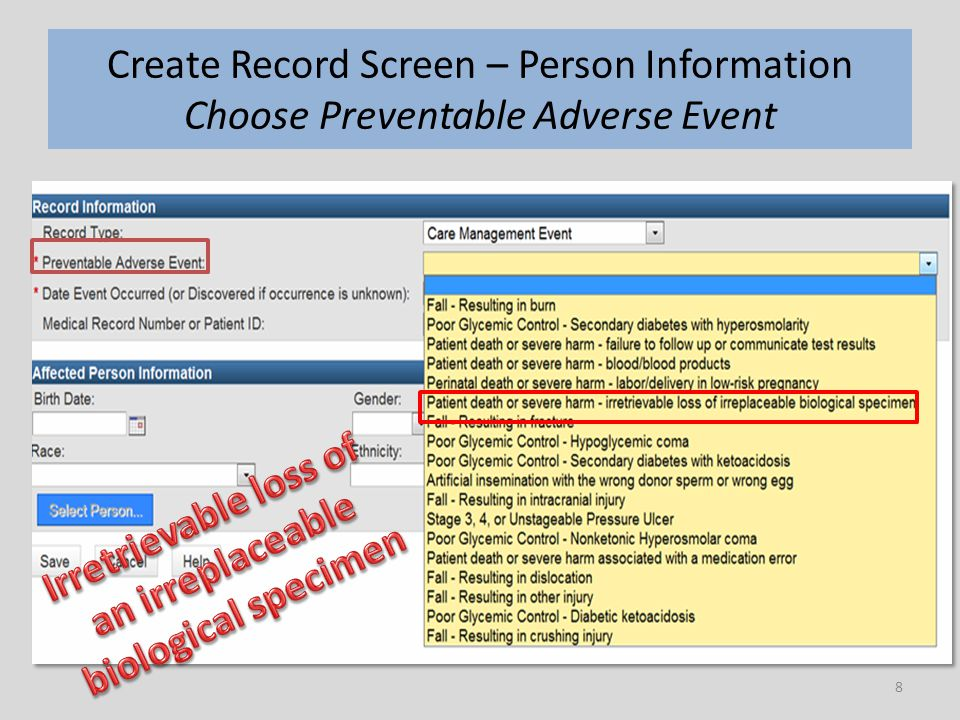 8 Create Record Screen – Person Information Choose Preventable Adverse Event