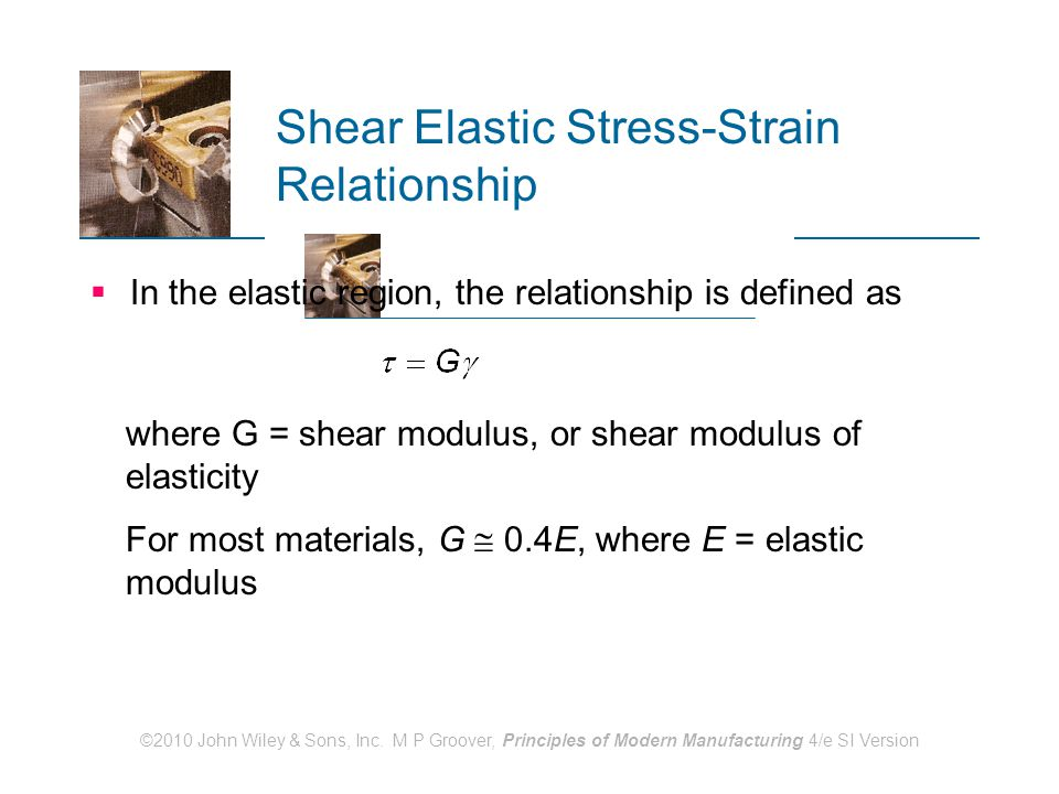 ©2010 John Wiley & Sons, Inc. M P Groover, Principles of Modern Manufacturing 4/e SI Version Shear Elastic Stress ‑ Strain Relationship  In the elast