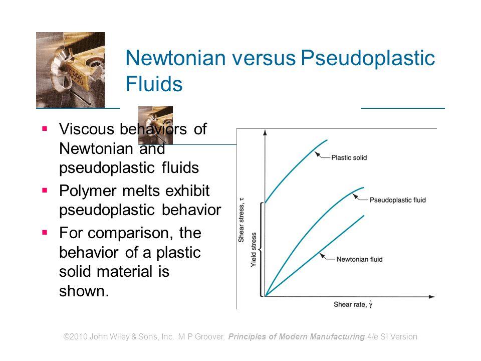 ©2010 John Wiley & Sons, Inc. M P Groover, Principles of Modern Manufacturing 4/e SI Version Newtonian versus Pseudoplastic Fluids  Viscous behaviors