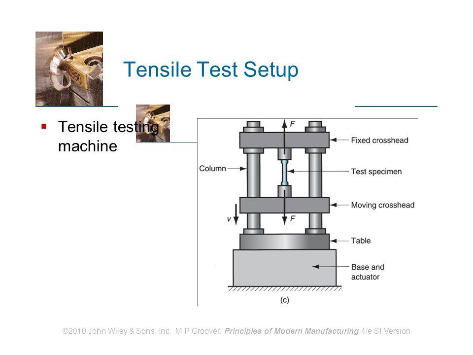 ©2010 John Wiley & Sons, Inc. M P Groover, Principles of Modern Manufacturing 4/e SI Version Tensile Test Setup  Tensile testing machine