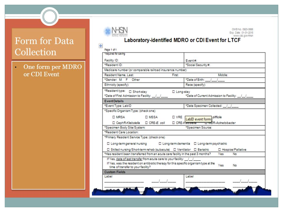 Form for Data Collection One form per MDRO or CDI Event ""