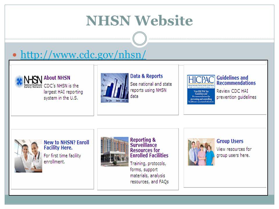 NHSN Website http://www.cdc.gov/nhsn/