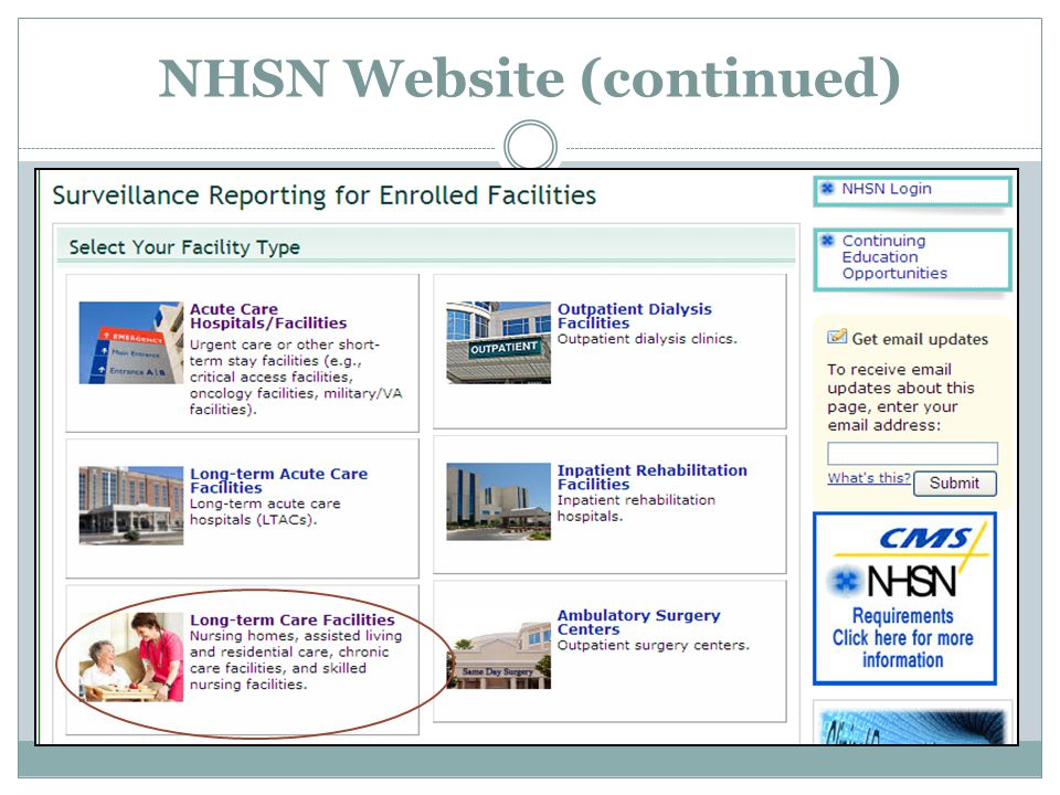 NHSN Website (continued)