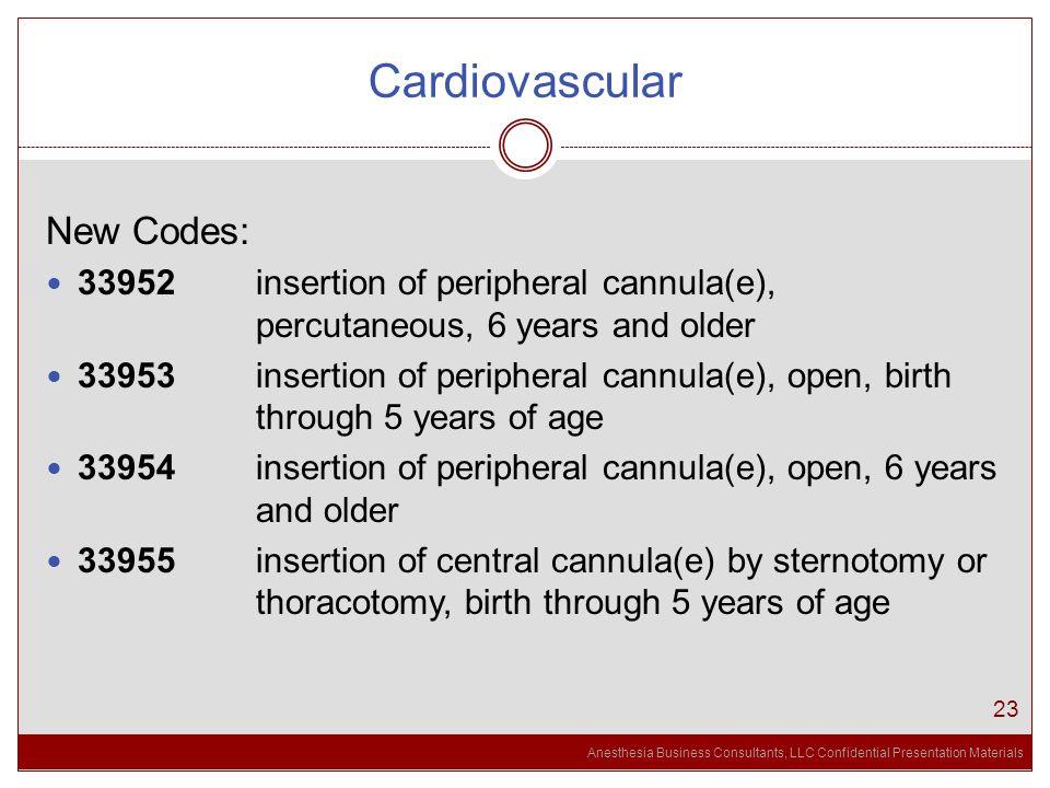 Anesthesia Business Consultants, LLC Confidential Presentation Materials Cardiovascular 23 New Codes: 33952 insertion of peripheral cannula(e), percutaneous, 6 years and older 33953 insertion of peripheral cannula(e), open, birth through 5 years of age 33954 insertion of peripheral cannula(e), open, 6 years and older 33955 insertion of central cannula(e) by sternotomy or thoracotomy, birth through 5 years of age