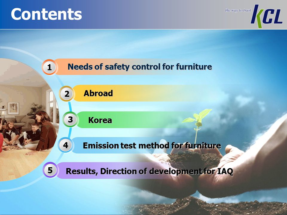 Needs of Safety Control for furniture Consumer complain New furniture consumer - 87.5 % odor complaint - 43.6 % eye & throat irritation experience Increased consumer complaint for new furniture Source: survey report from Consumer Agency (2006) Main cause of indoor air pollution High pollutant emissions of furniture in households Furniture>Home appliance>Office equipment>Bedding Wood-based panels are the main source, have continuous emission problems Source: Press release from Ministry of Environment(2008) Emission factor (mg/unit·h) Volatile organic compound (TVOC) Formaldehyde(HCHO) Furniture Home appliance Office equipment Bedding Toys New furniture release hazardous substances even after one month