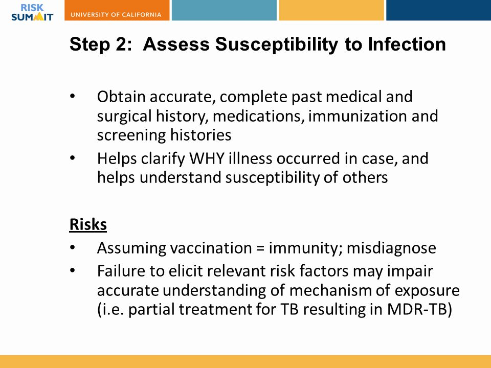 Step 2: Assess Susceptibility to Infection Obtain accurate, complete past medical and surgical history, medications, immunization and screening histor