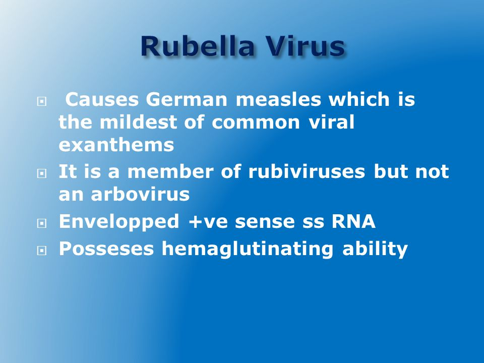  Causes German measles which is the mildest of common viral exanthems  It is a member of rubiviruses but not an arbovirus  Envelopped +ve sense ss RNA  Posseses hemaglutinating ability