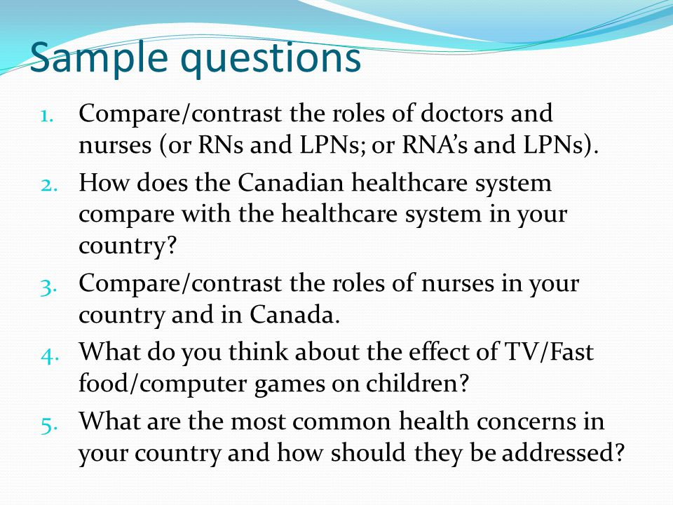 More Sample questions 1.
